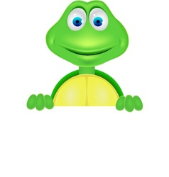 cute turtle with blank sign vector image vector image