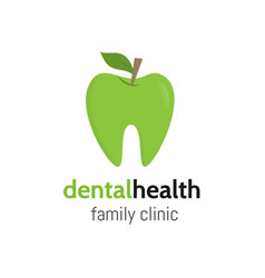 dental health tooth logo as a green apple with vector image vector image
