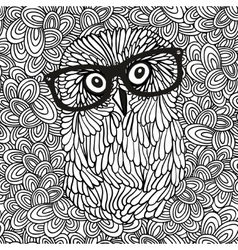 Doodle pattern with black and white hipster owl vector image vector image