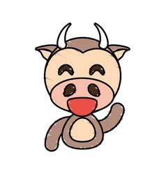 draw cow animal comic vector image