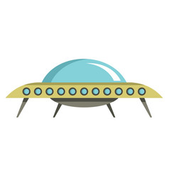 Flat cartoon spaceship ufo object isolated on vector