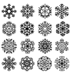 Flat snowflakes icons on a white background vector image vector image