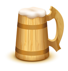 full wooden beer mug with thick white foam vector image