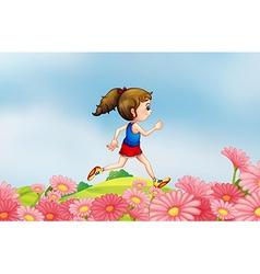 Girl jogging garden vector image vector image