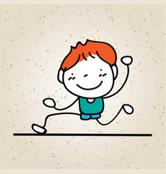 Hand drawing abstract happy cute kid vector