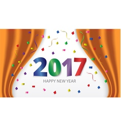 Happy new year 2017 colorful glossy type vector