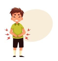 Little boy having stomach ache vector