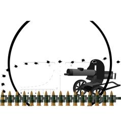 Machine gun and machine-gun belt vector image