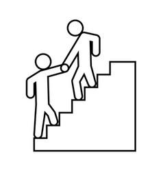 Man helping climb other man black icon vector