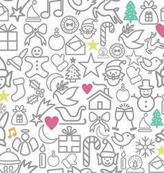 Merry Christmas wrapping paper pattern outline vector image