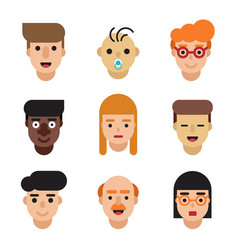 People avatars set modern flat character cartoon vector