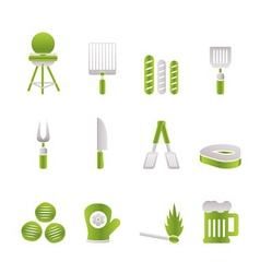 picnic and barbecue icons vector image vector image