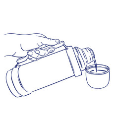 Pouring coffee from thermos vector