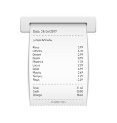 Sales printed receipt sales slip shopping paper vector