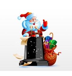 Santa claus standing behind a podium vector