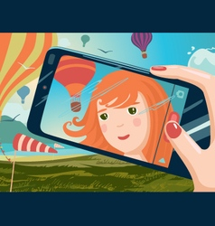 Selfie on the nature vector