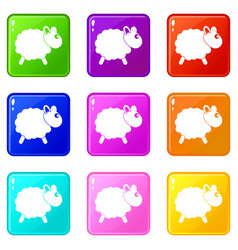 Sheep icons 9 set vector