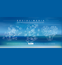 social media blue linear vector image vector image