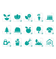 Stylized different plants and gardening icons vector