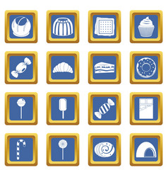Sweets and candies icons set blue vector