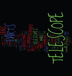 Telescope parts text background word cloud concept vector