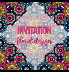 Universal invitation floral abstract style card vector