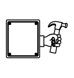 Hammer in the hand icon stock vector