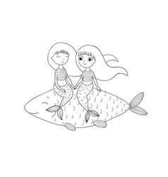 beautiful little mermaid and fish siren vector image