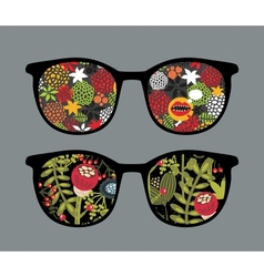 Retro sunglasses with floral reflection in it vector