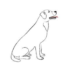 Black line dog vector