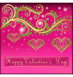 Pink postcard on valentines day with pendants vector