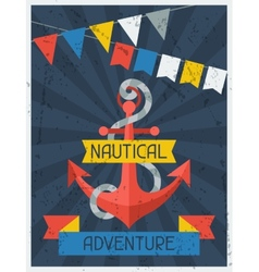 Nautical adventure retro poster in flat design vector