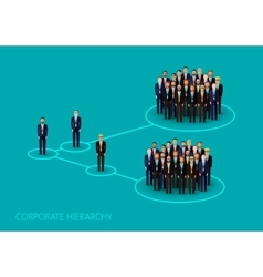 Flat of a corporate hierarchy structure a a crowd vector