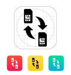 Replacement and exchange sim cards icon vector