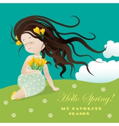 Girl with flower ssitting on grass vector