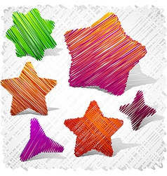 Scribbled stars shapes vector