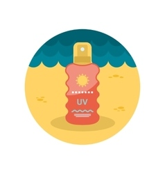 Sun cream in spray flat icon vector