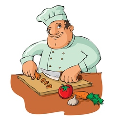 Chef cutting vegetables vector