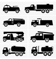 Fire and tank trucks vector