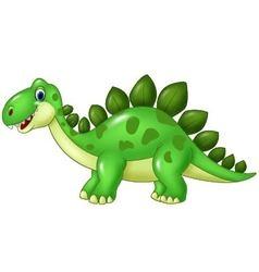 Cartoon funny Stegosaurus mascot isolated on white vector image
