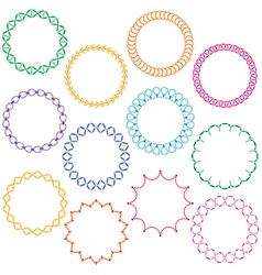 Embroidered circle frames vector