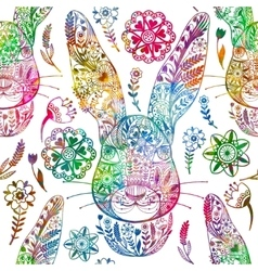 Floral seamless pattern with ornamental rabbit vector