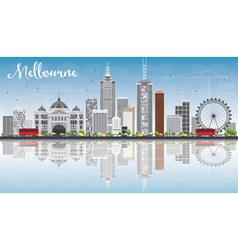 Melbourne skyline with gray buildings vector