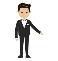 Man suit bowtie icon vector