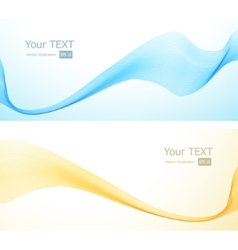 Abstract banner with blue and yellow wave vector
