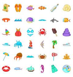 Beach rest icons set cartoon style vector