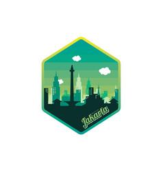 city of jakarta label badge sticker logo template vector image