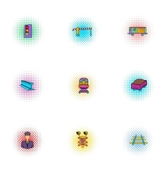 Electrical train icons set pop-art style vector