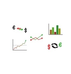 Finance icon set with graph and currency vector image vector image