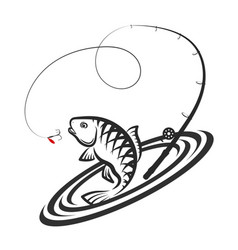 Fish and fishing rod jumping silhouette vector